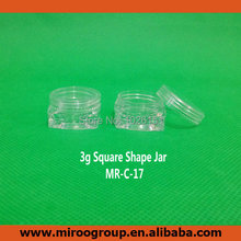 Free Ship 100pcs craft 3g 3ml plastic clear sample jars with clear lids, sample pots cosmetic jars, 3g plastic jars with lid pot