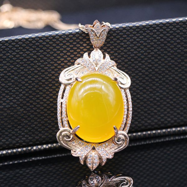 Classic Exquisite Oval 925 Sterling Silver Yellow Chalcedony Pendant<br><br>Aliexpress