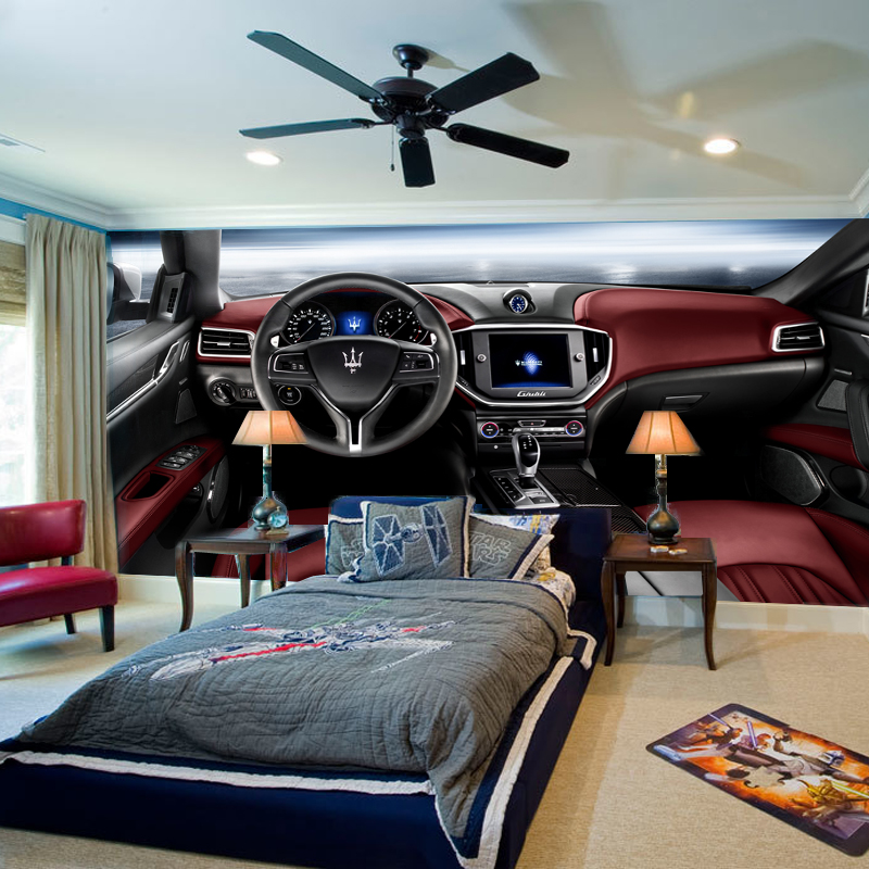 1x3m modern 3d fashion cool car mural wallpaper for for Cool mural wallpaper