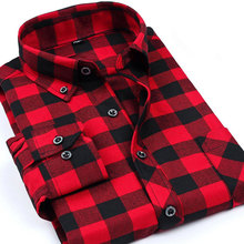 New Autumn Brand Fashion Mens font b Plaid b font Shirts Long Sleeve Dress Shirts Camisa