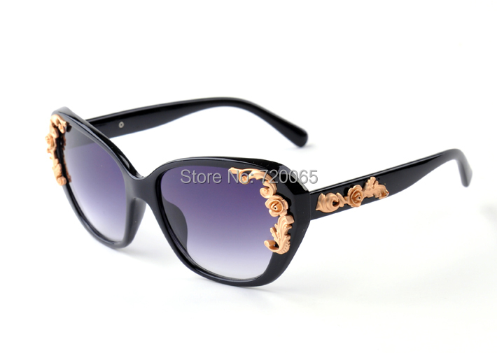 2014 Luxury Queen Baroque Golden Rose Women Sunglasses Hot Selling Metal Flower Accessories Vintage Glasses - Fashion girl' store
