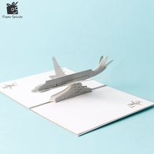 Paper Laser cut 3D pop up cards vintage plane gifts postcard birthday Father's day greeting cards with envelope carte postale(China (Mainland))