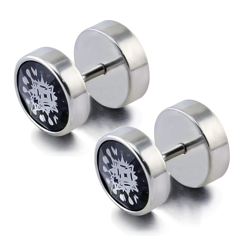 Stainless steel ear piercing earrings studs fake cheated ear tunnel plug glass mage silk screen free shipping(China (Mainland))