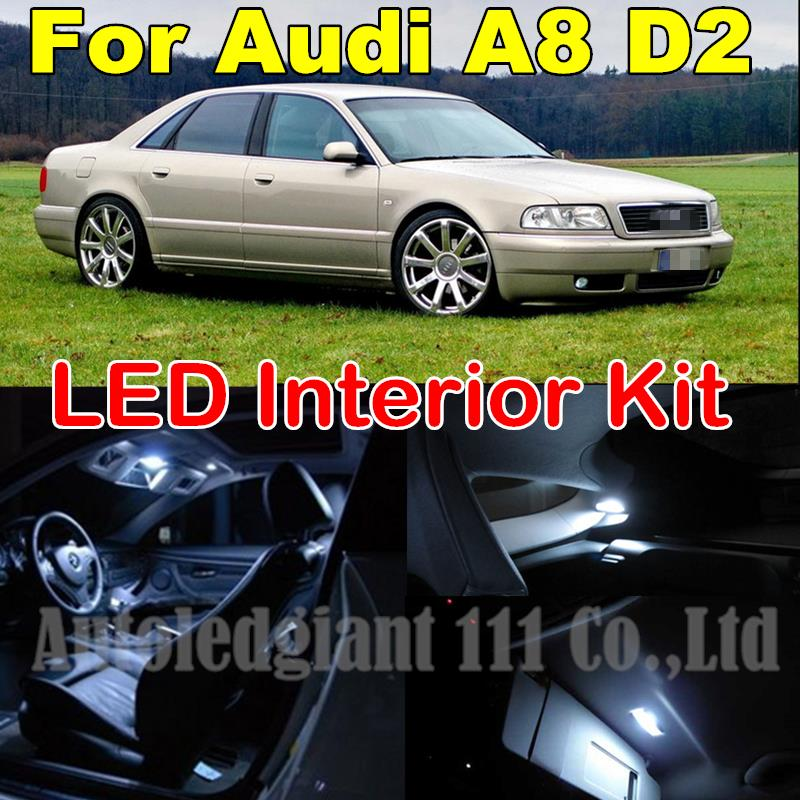 25X White Error Free Dome Mirrors Footwell Trunk Led Lighting Package For Audi A8 D2 S8 Canbus LED Interior Light kit 1997-2002(China (Mainland))