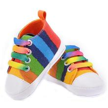 High quality colorful baby shoes girls boys toddler shoe 2015 fashion rainbow canvas shoes soft prewalkers casual first walkers(China (Mainland))