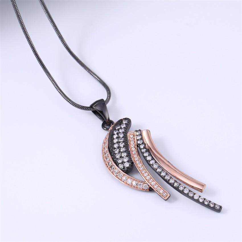 ZHE FAN AAA Cubic Zirconia Unique Black Gold Color Necklace Women Men Two Tone Plating Fashion Jewelry Christmas Gift + Chain