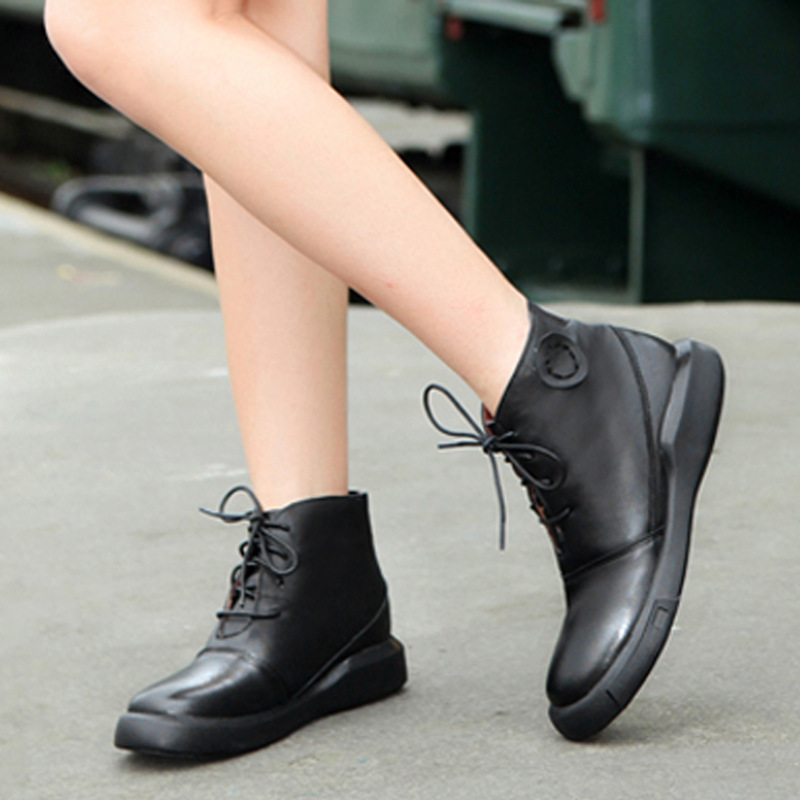 Fashion Famous Brand Women Designer Genuine Leather Boots Casual Womens Ankle Boots Flat Ladies ...