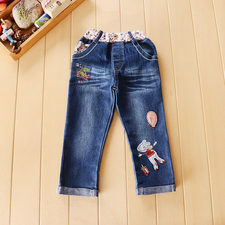 Flower Kids Baby Girls Clothing Sweater Blouse + Jeans Pants suit Cartoon Outfit