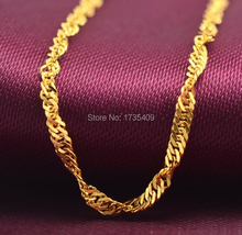 """17.5"""" 999 Solid 24K Yellow Gold Chain Necklace/ Singapore Chain Necklace/ 2.4g(China (Mainland))"""