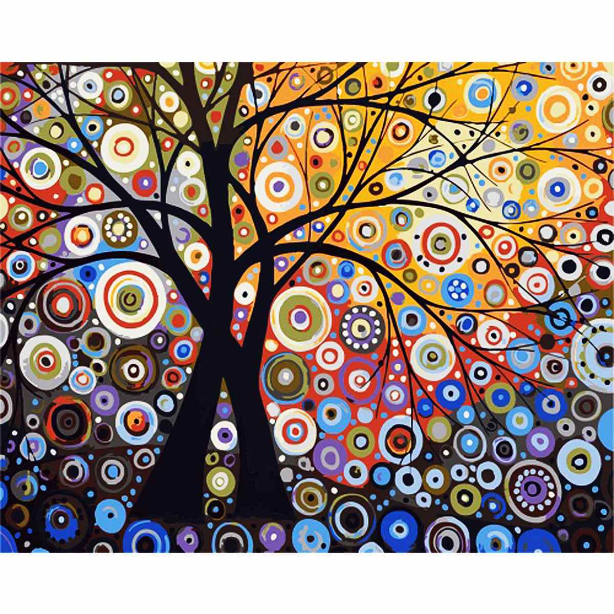 New DIY Painting By Numbers Abstract Tree Painting On Canvas Party Gift Coloring By Numbers Home House Decorate Magic Frameless(China (Mainland))