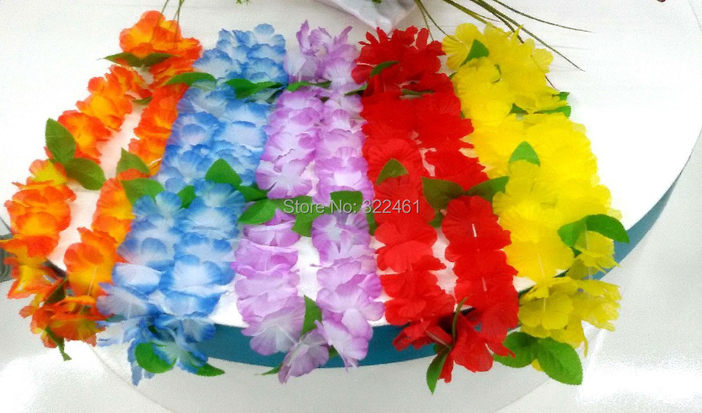 20pcs/lot new 2015 wedding decoration hawaiian Flowers lei Garlands with leaf Hawaii Party Dress Necklace artifical flowers(China (Mainland))