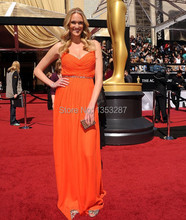 Orange Spaghetti Straps Evening Dress Sweetheart Neck Beaded Chiffon Floor Length Celebrity Inspired Dresses 2016 Free Shipping
