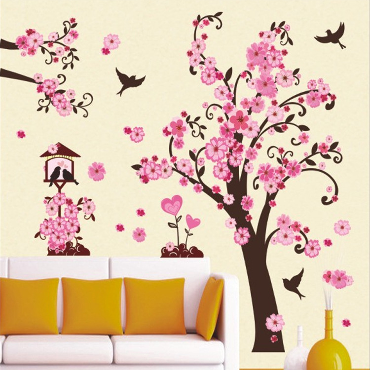 New arrivals diy wall art decal decoration fashion romantic flower tree 3d wall stickers bedroom - Flower wall designs for a bedroom ...