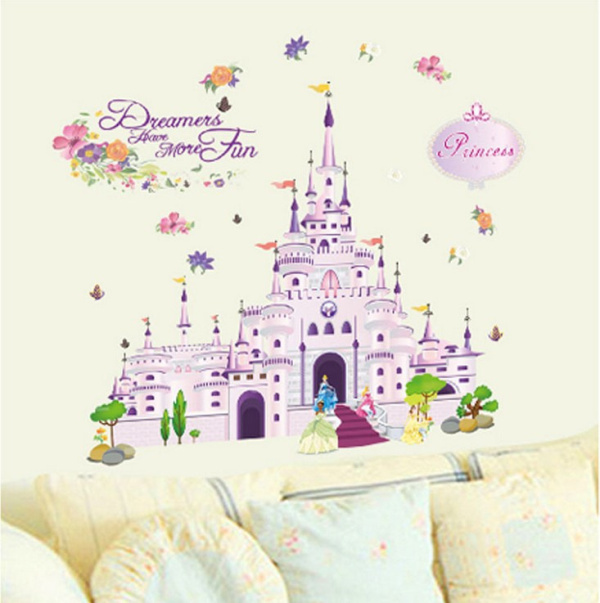 Buy 100 85cm princess castle wall for Castle wall mural sticker