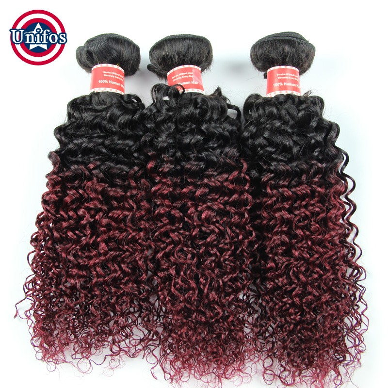 Ombre Brazilian Virgin Hair With Closure 3 Pcs Ombre Burgundy Weave With Closure Ombre Brazilian Jerry Curly Hair With Closure
