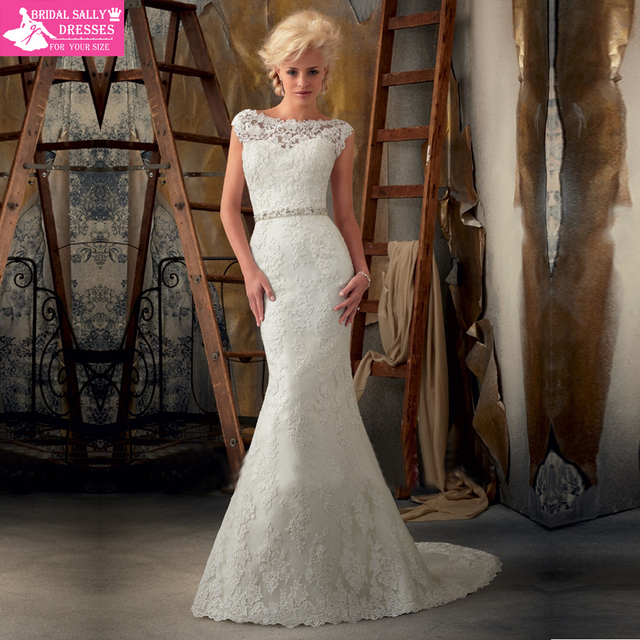 Free Shipping White Scoop Court Train Lace Ribbons Crystal Mermaid Wedding Dresses Satin HL-838