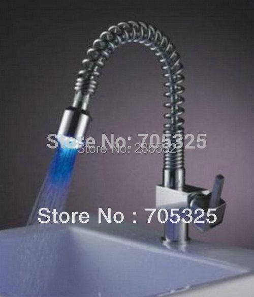Beautiful Construction Real Estate LED Bathroom Basin Kitchen Sink Pull Down Spray Mixer Tap Faucet Z340