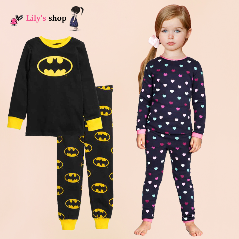 Retail 2016 boys clothing set despicable me minions pajamas cotton batman toddler girl clothing set brand winter baby sleepwear(China (Mainland))