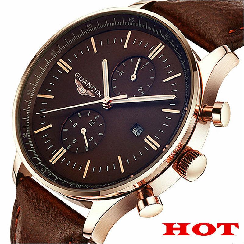 GUANQIN new luminous Leather multifunction watches belt fashion business men quartz watch waterproof Wristwatches male table(China (Mainland))