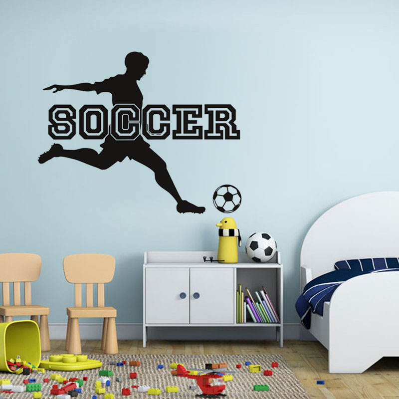 Soccer Sport Game Wall Sticker Living Room Bedroom Decor Wall Art Football Wallpaper Home Decoration Accessories For Kids Room(China (Mainland))