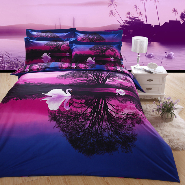3d swan sunset purple bedding set sheet Quilt/Duvet/comforter cover pillow Case 4 kits Queen double size