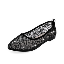 2016 Summer High Quality Brand Women New Pointed Toe Slip-on Mesh Hollow Net shoes Breathable Female Casual Shoes Freeshpping