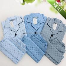 Japanese Brand 2015 Cotton Gauze Soft Mens Pajamas for Men Sleepwear Long Sleeve Homewear Tracksuit Elegant Home Clothing(China (Mainland))