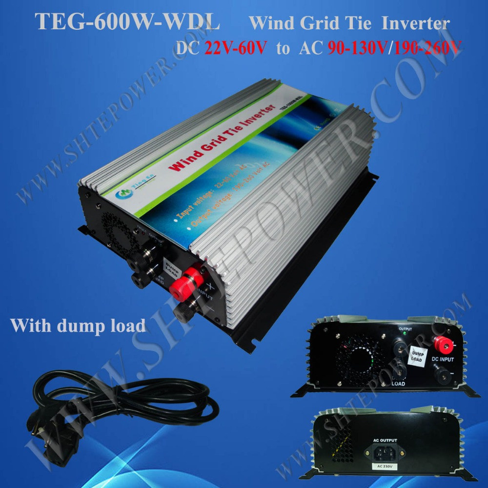 Dump Load Protection DC 22-60v to AC 90-130v/190-260v 600w Grid Tie Inverter for Wind Turbine(China (Mainland))