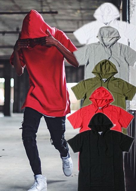 2015 New Casual Hoodies Men Red/Green/White/Gray/Black short sleeve Beach Sport Hole T Shirt Mens Jacket hip hop - Brand fashion store
