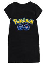 Free shipping kids girls pokemon go short sleeve T shirt long girl baby pokemon go clothing