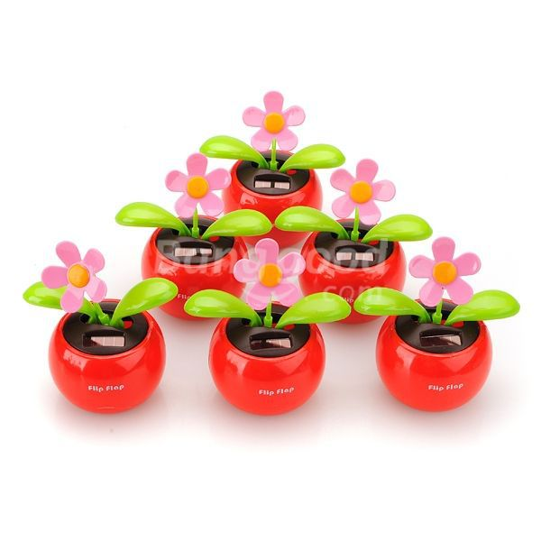 HotHeart Flip Swing Flap Solar Powered Flower Car Toy Gift(China (Mainland))