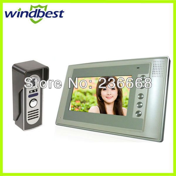 Freeshipping Wholesale Video Door Phone Doorphone Doorbell Intercom Kit With 7 Inch LCD Monitor Work Under 0 Degree(China (Mainland))
