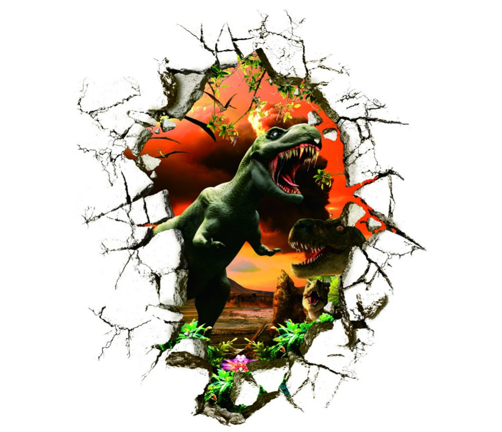 dinosaur dino breaking wall 3d effect wall sticker the age dinosaurs wall sticker