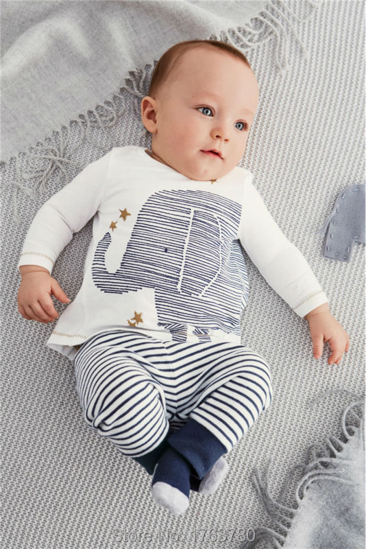 2015 new newborn baby clothing baby boy clothes cute elephant long-sleeved T-shirt + striped pants two groups bebe clothing set(China (Mainland))
