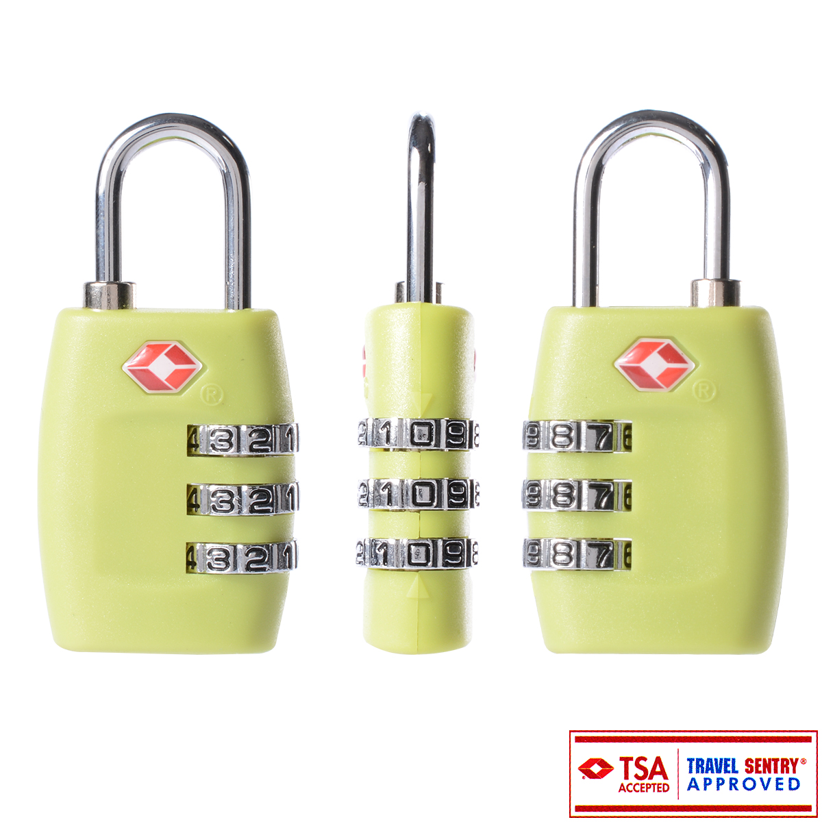 TSA Resettable Security 3 Digit Dial Combination Code Lock Padlock for Travel Suitcase Luggage Bag Green