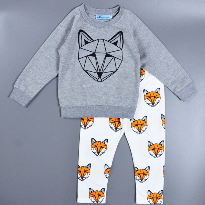2pc Boy Girl Clothing Sets Baby Kids Clothes Casual Gray