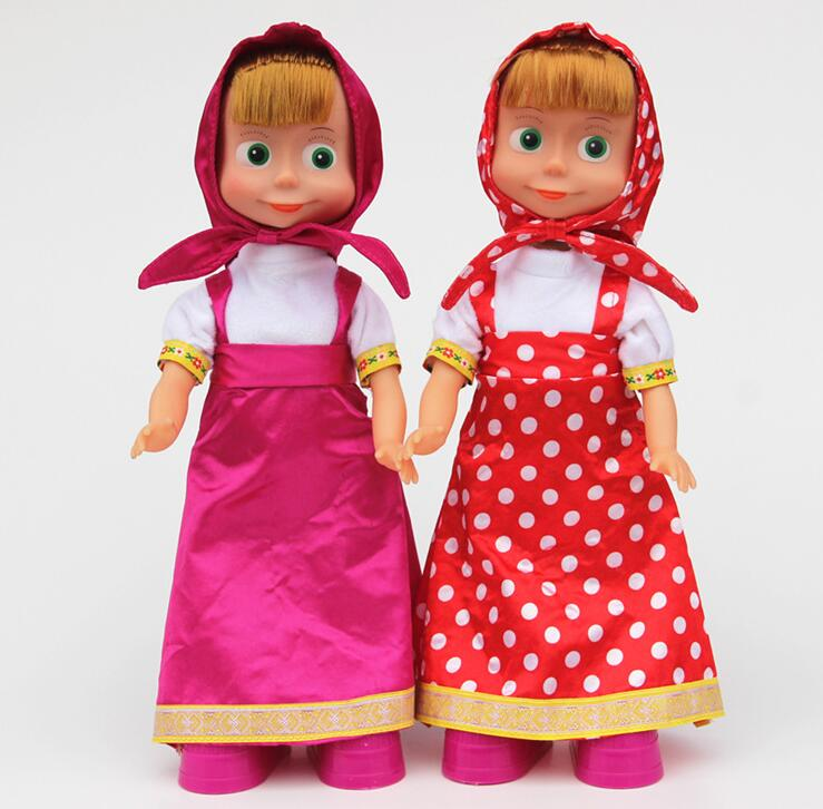1pc Masha and Bear Singing Talking Dancing Masha Doll Russia Anime Character Doll Funny Electronic Toys for Baby and Kids(China (Mainland))