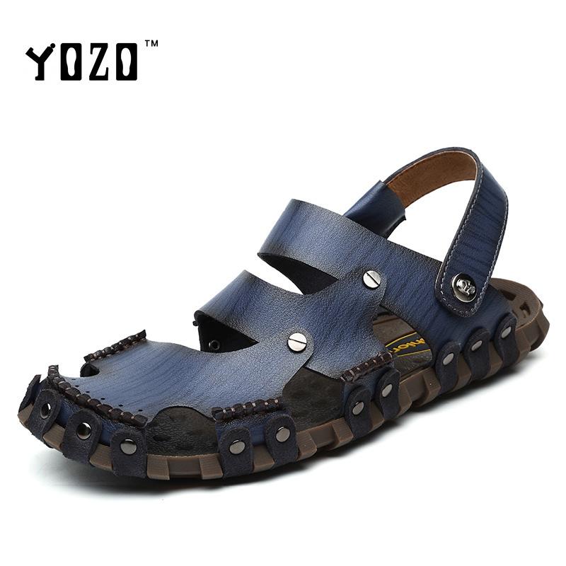 Men Sandals Genuine Leather Sandals Men Fashion Fretwork Soft Fisherman Brand Shoes Men Slippers Beach Sandals Sandalias Hombre(China (Mainland))