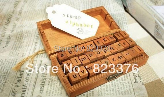 DHL Free shipping,40Sets 30pcs/set, Creative Lowercase & Uppercase Alphabet wood rubber stamps set, Wooden box ,Decorative DIY(China (Mainland))