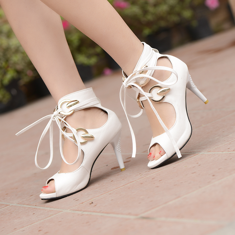 2015 Summer Shoes Woman Sandals Sexy PU Leather Fashion Open Toe High Heels Cross-tied Ladies Sandals Women Peep Toe Shoes Hot<br><br>Aliexpress