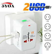 2 USB Charging Port All in One Universal Worldwide Travel Wall Charger AC Power AU UK US EU Plug Adapter Adaptor