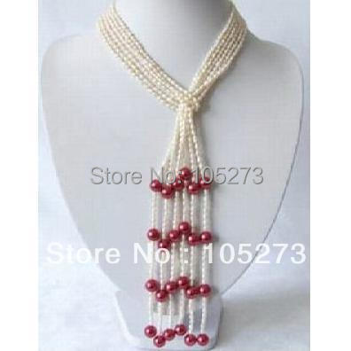 New Arriver Pearl Jewelry AA 5-8MM White Purple Color Natural Freshwater Pearl Scarf Necklace 32 Ladys Jewelry Free Shipping<br><br>Aliexpress