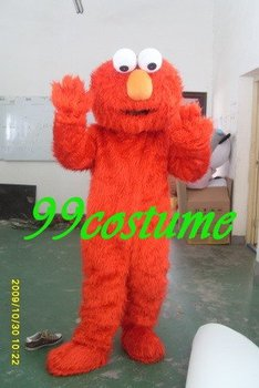Free Shipping Adult Size Long Hair Red Elmo Cartoon Cosplay Mascot Costume Cosplay Christmas Hallowmas Party Dress
