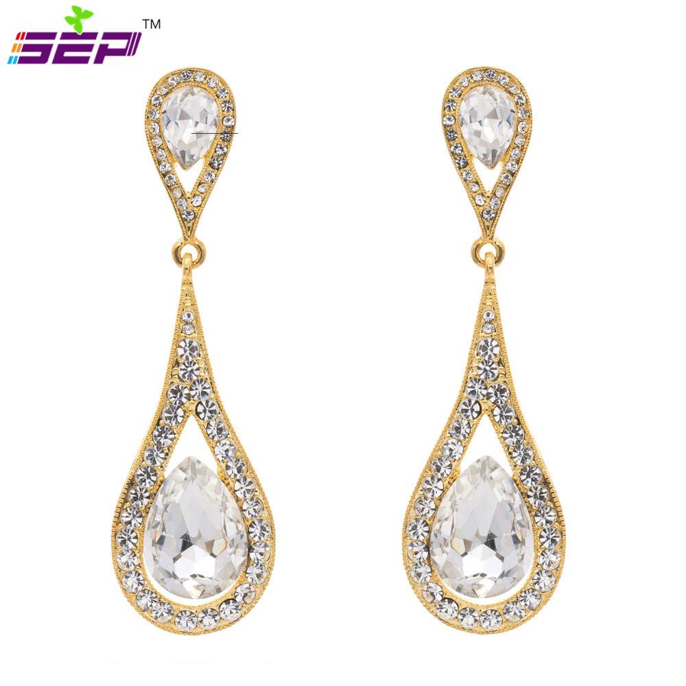 Amazing Rhinestone Resin Earrings Women Long Dangle Water Drop Earring Trendy Elegant Long Ear Jewelry ...