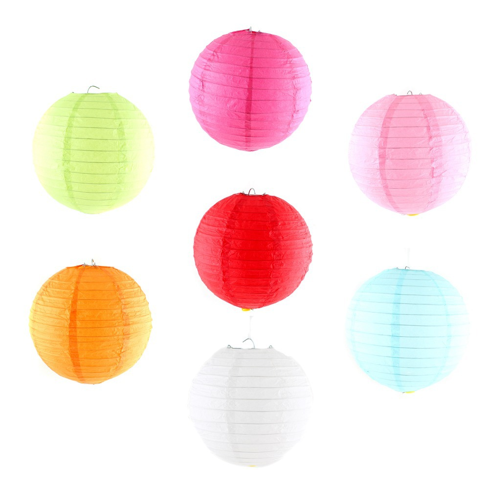 5 x Chinese Round Paper Lanterns With Mini LED Light For Wedding Party Decoration(China (Mainland))