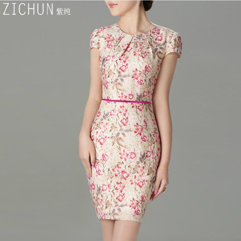 Female OL summer plus size O-neck short puff sleeve 60%silk slim dresses women print knee-length silk silk soft dress D12