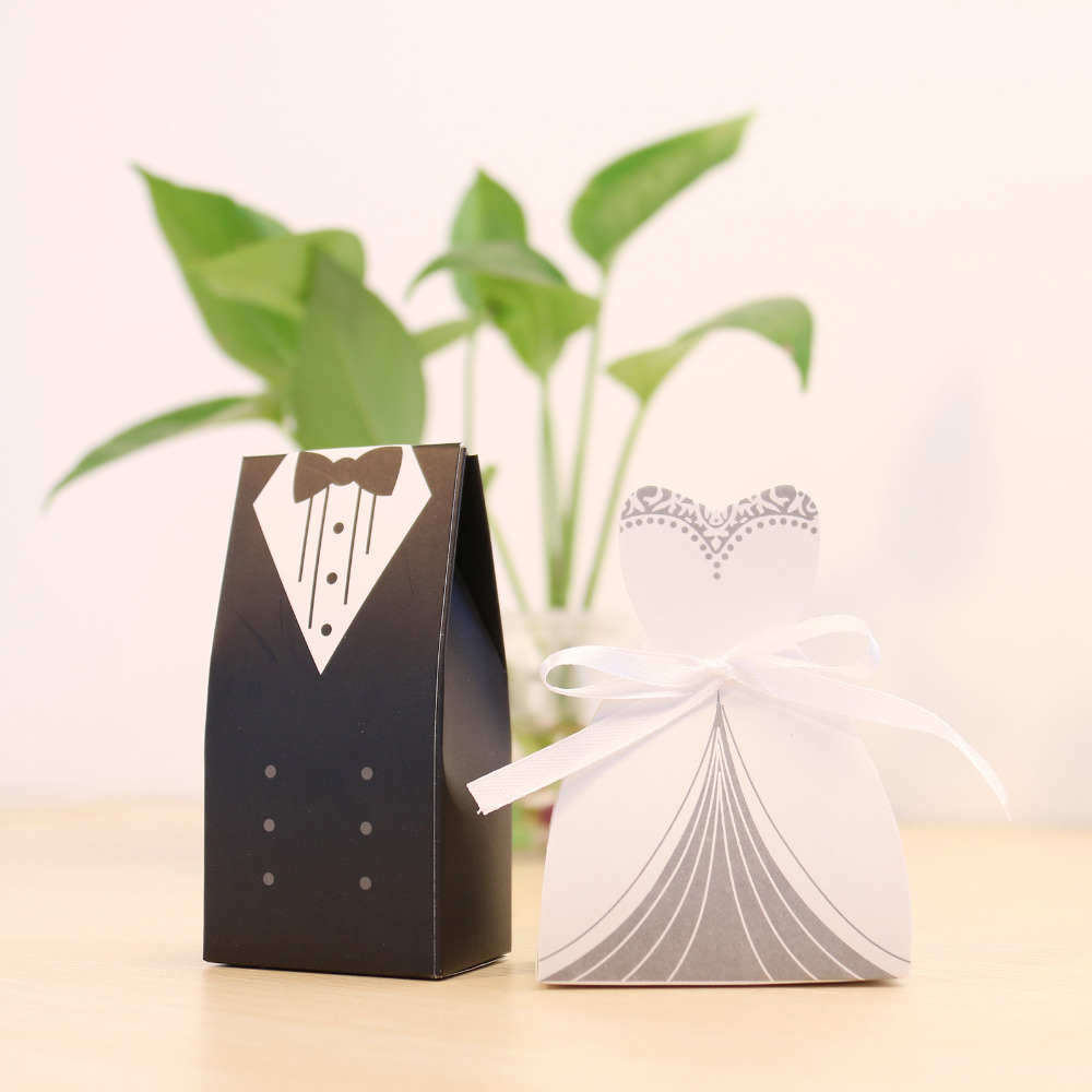Cute 100pcs/lot Wedding Favor Gift Boxes 50pcs Groom Candy Boxes + 50 pcs Bride Candy Boxes Romatic Couple Candy Boxes(China (Mainland))