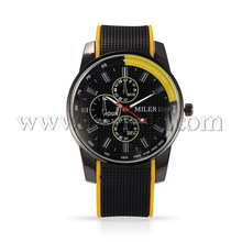 High Quality Stainless Steel Silicon Quartz Wrist Watch Yellow 260x22mm Watch Head 55x48x12mm