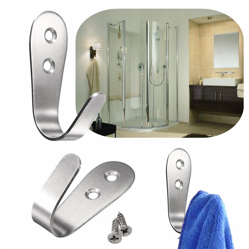 Home Kitchen Bathroom Wall Door Stainless Steel Holder Hook Hanger Rack Towel Silver 68*25*1.5mm<br><br>Aliexpress