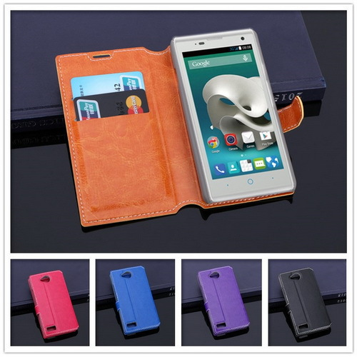 Luxury Leather Cover Case For ZTE Blade G Lux Phone Back Cover Stand Book Style With 2 Card Holder(China (Mainland))